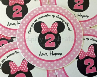 Set of 12 Personalized Favor Tags -Girl Mouse Ears-Thank You Tag -Gift Tag -Baby Shower -Birthday-Sticker-Pink and White -Polka Dots