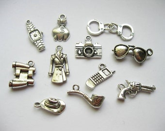 Detective Charm Collection of 11 charms - C1744