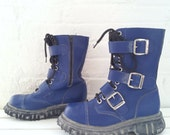 Blue Buckle Boots 7 Vintage 90s Punk Goth Industrial Metal Techno Cyber Rave Club Kid EDM Festival Burningman Playa 12 Eyelet Hole Boots
