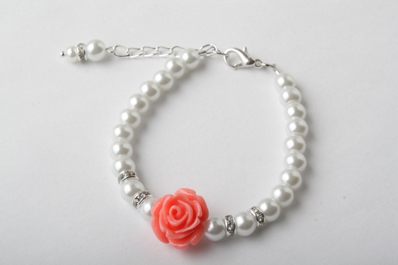 coral and white flower bracelet coral bracelet junior