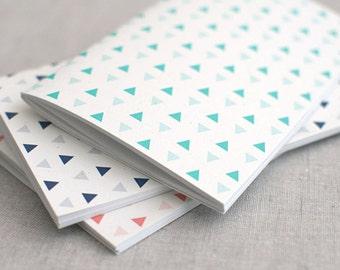 Stocking Stuffer Geometric Notebook & Pencil Set - Mini, Large or Midori Insert - Triangle Pattern Mint Navy Coral - Dot Grid Notebook