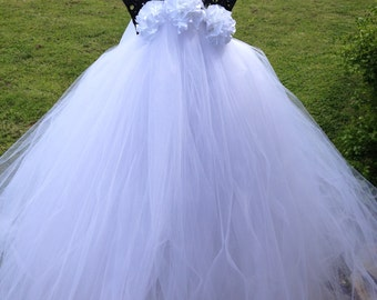 Dreamy White Couture Flower Girl Tutu Dress/ Pageant Attire/Tutu Dress