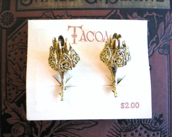Clearance Sale, Iron Maiden, 1960s Highly Detailed Metal Flower Earrings, New Old Stock