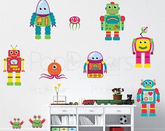 Children Playroom Robots Stickers Kids Wall Decals Boys Love Wall Graphics - 10 Robots - Baby Nursery  Wall Art Holiday Kids Gift prt0009b