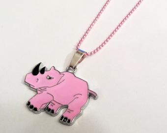 Pink rhinoceros enamel charm necklace
