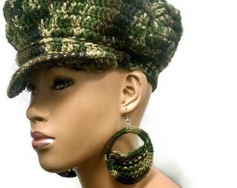 MADE TO ORDER Camouflage Newsboy Hat/Beret/ Military Fatigue Beanie with brim/strap/silver button