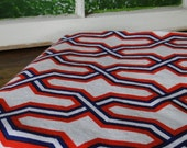 RESERVED Cohama Geometric Red, White and Blue Vintage Fabric - Two Yards