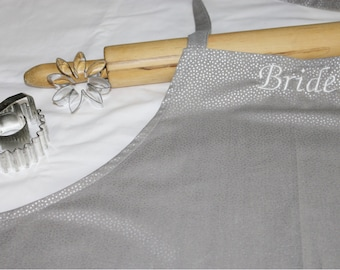 Bride Apron - Silver Dots with Ruffle - made to order