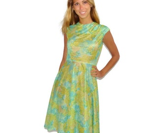 Vintage 50s 60s Green, Blue & Gold Shimmery Sheer Summer Day Dress, Size Small 2 4