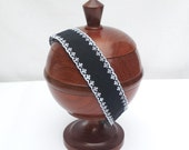 Stretch Headband, Black & White Eyelet, Comfortable, Elastic Back, Sized for Adults or Teens
