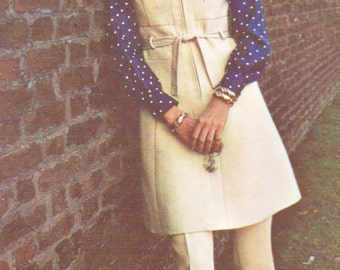 70s Belinda Bellville Womens A Line Jumper, Blouse and Pants Vogue Couturier Design Sewing Pattern 2414 Size 10 Bust 32 1/2 Label