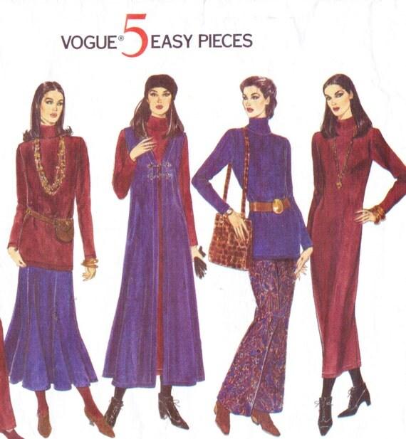 90s Vogue 5 Easy Pieces Sewing Pattern 1291 Womens Boho Long Vest, Maxi Dress, Top, Skirt & Pants Size 18 20 22 Winter Dress Pattern