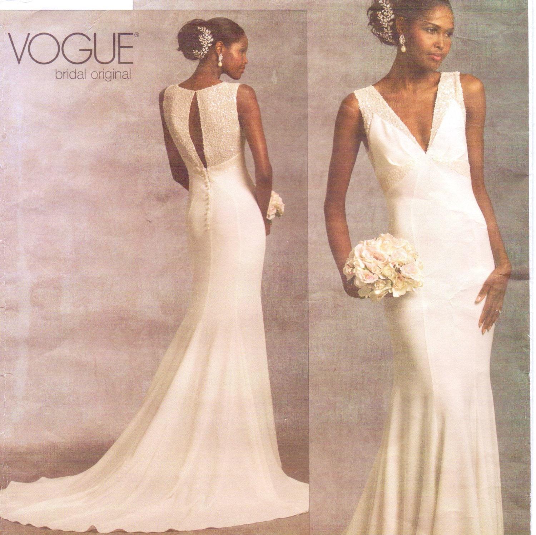 Vogue Bridal Original Pattern V1032 Womens V Neckline Wedding