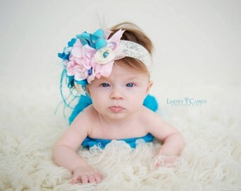 "Baby Headband Newborn Headband : The ""Charlee""  Luxe Pink, Blue and Creme Headband  for newborns, toddlers, children adults"