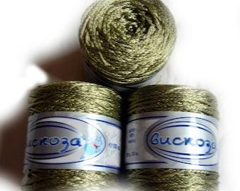 Viscose Silk Yarn, shining yarn, bright yarn, summer yarn, green collor yarn. Yarn Viscosa in green. SALE. DSH