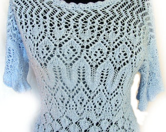 Knitting Pattern Summer Lace Shirt Blouse Instant Digital Download. The blue summer sky lace blouse.