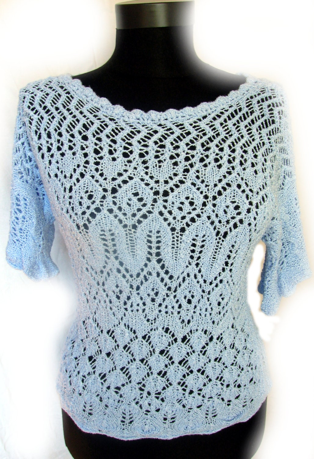 Knitted Shirt Pattern : Knitting Pattern Summer Lace Shirt Blouse Instant Digital