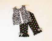 Girls Winter RUFFLE PANTS OUTFIT Zebra Size 3mo to 6 Fur Vest 3mo 6mo 9mo 12mo 18mo 24mo 2T 3T 4T 5 6