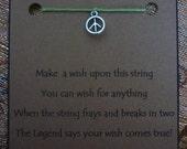 PEACE WISH STRING Bracelet Symbol Cord Color Choice