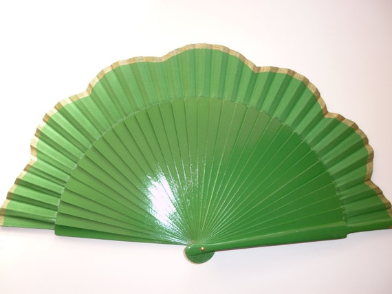 Hand Fan Green with Gold scalloped  by Kate Dengra Spain