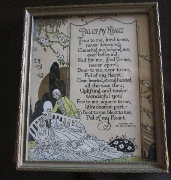 Vintage 1920s Poem Framed Pal Of My Heart Buzza Motto