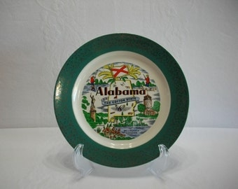 Alabama The Cotton State 1956 Homer Laughlin Vintage Green and Gold Transferware Plate, State Tourist Souvenir Transferware Plate