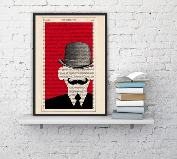 Spring Sale Mr Moustache - Moustache Collage Poster - upcycled art collage book print BPTV093