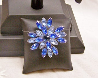 SALE - TAKE 20% OFF - Shades of Blue Rhinestone Brooch - Free Shipping