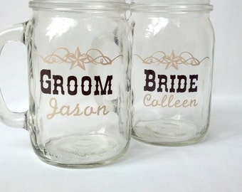 Rustic wedding, set of 2 mason jars.  Ivory and brown. Title and personalized name on each. Country theme wedding. Fall wedding idea glasses