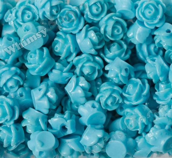 Sky Blue Rose Beads Flower Beads Drilled Flowers 9mm Flower