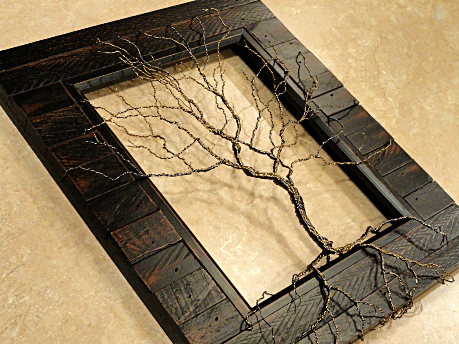 Twisted wire tree sculpture tree of life sculpture wood framed for How to make a wire tree of life sculpture