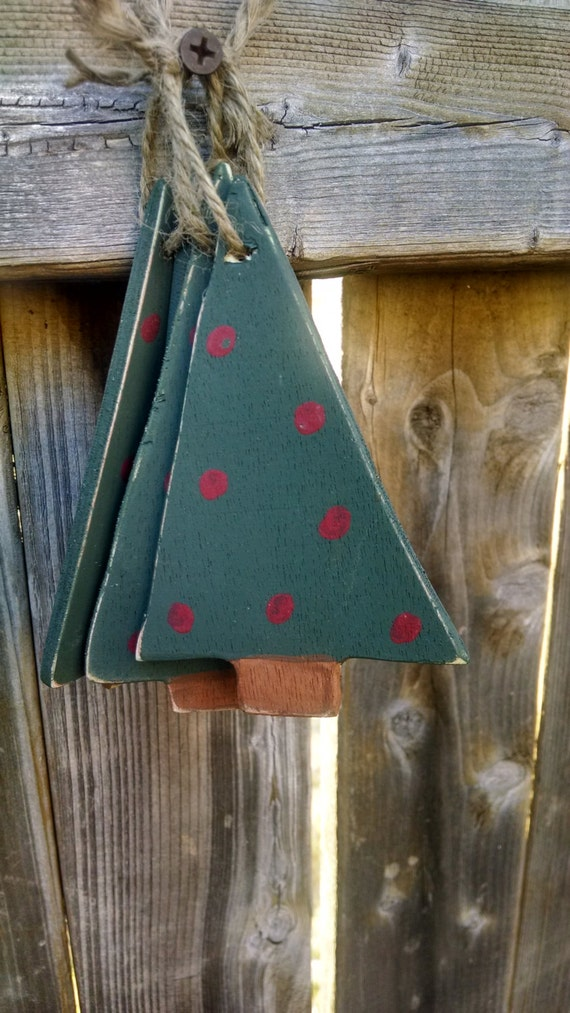 Set of 3 wooden hanging Christmas Trees