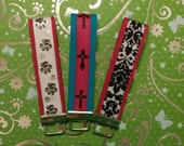 Made to order key fob wristlet keychain, you choose webbig and ribbon, makes a great gift or stocking stuffer