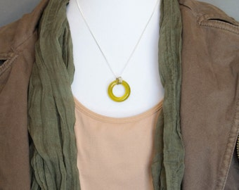 Misted Yellow Glass Pendant made from a Recycled Wine Bottle, Necklace is Sterling Silver, Gift For Her, Dessin Creations