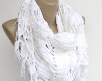 White Crochet Scarf Shawl Wrap Crochet women shawl wrap Winter Accessories For Her Gift Spring Scarf senoAccessory