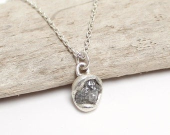 Rough diamond pendant necklace, rough diamond necklace, raw diamond necklace, uncut diamond necklace, bridal necklace, wedding pendant