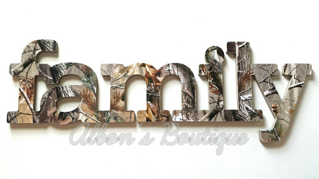 Family sign wall decor in realtree camo great by for Camouflage wall mural