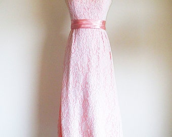 Vintage Pink Lace Dress, 60s Formal Dress, Pink Bridal Dress, Pink Dress