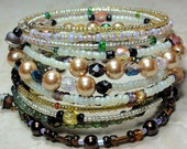 BRACELET   -  Gold Pearl Amber Red Green  Bead Coil Wrap Jewelry Bracelet - Free Shipping