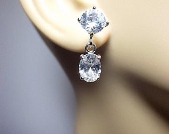 Cubic Sterling Silver Drop Earrings, Post Earrings, Valentines Mothers Day Gifts, Mom Sister Jewelry, Dangle Drop Modern Gold Swirl