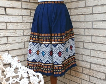 1960s Bohemian Circle Skirt Intricate Embroidered SW Detail Blue High Waist Womens Vintage Small