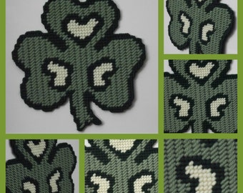 Handmade with Plastic canvas 6 inches by 6.5 inches Clover Shamrock  with hearts Saint Patrick's day Refrigerator steel door magnet