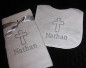 Christening Bib and Burp Gift Set --   Monogrammed Personalized  Custom Baptism Set -- Church Cross - Select Color