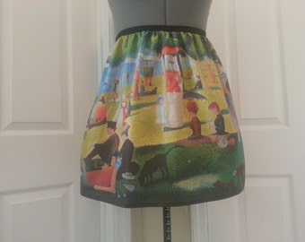 Sunday Afternoon on the Island of La Grande Jatte inspired skirt -  Georges-Pierre Seurat - made to order