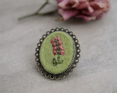 Hand Embroidered Flower Brooch - Antique Bronze - Pink Flower on Green Background