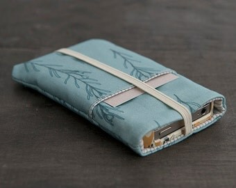 Fabric Mobile Phone Cover - iPhone 5 Case - iPhone 6 Fabric Cover - Elastic Band - Exclusive Own Illustrated Fabric Design