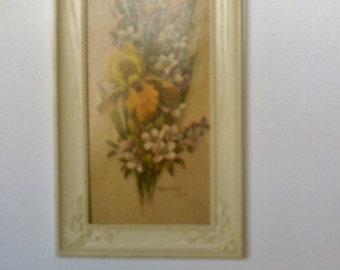 Vintage Robert Laessing Contemporary American Floral Framed Lithograph / Floral Print with Faux Wood Frame