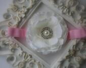 Baby headband..Baby Girl Headband..Toddler Headband..Pink and Cream Headband..Cream Flower Headband..Pink Flower Headband..Newborn Headband