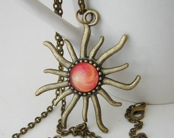 Swirling Sun Pendant with Free Necklace