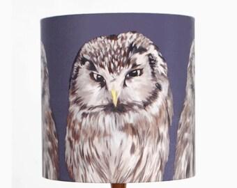 Owls Lampshade - handmade silk shade